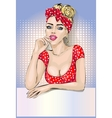 Pin-up housewife woman portrait with signboard vector image