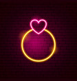 ring with heart neon sign vector image vector image