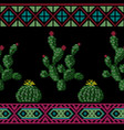 seamless cross stitches cactuses floral pattern vector image vector image