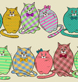 Seamless pattern of funny fat cats vector image