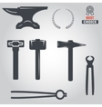 Set of logo and logotype elements for blacksmith vector image vector image