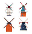 set of traditional rural windmill vector image vector image
