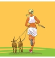 Sporty woman runner with dogs vector image vector image