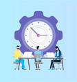 time management online support workers at laptop vector image vector image