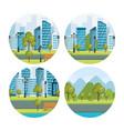 urban cityscapes set scenes vector image vector image