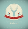 Vintage christmas card with deer and holly branch vector image vector image