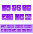violet flat calendar with analog flip timer vector image vector image