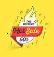 weekend hot sale banner template in flat trendy vector image vector image