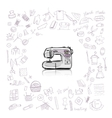 Sewing set sketch for your design vector image