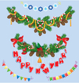 Set of Christmas and New Year garlands vector image