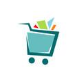 a trolley shopping cart logo icon design shop