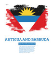 antigua and barbuda flag with brush strokes vector image vector image