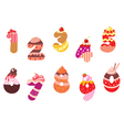 Appetizing bakery numbers and digits vector image vector image