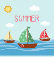 boat cute card vector image vector image