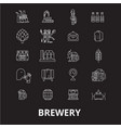 brewery editable line icons set on black vector image vector image