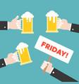 business hand holding beer jug celebration flat vector image