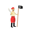 cartoon aggressive pirate character holding jolly vector image vector image