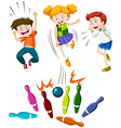 Children playing game of bowling vector image vector image