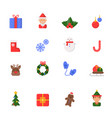 christmas flat icons winter celebration vector image vector image