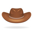 cowboy leather hat isolated 3d realistic icon vector image