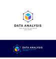 cube abstract logo design data analysis vector image