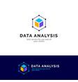 cube abstract logo design data analysis vector image