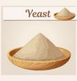 dry yeast in wooden plate cartoon vector image vector image