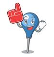foam finger clyster mascot cartoon style vector image