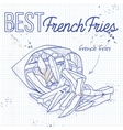 french fries scetch on a notebook page vector image vector image