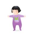 Funny asian kid girl with pocket monster walking