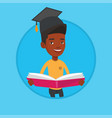 graduate with book in hands vector image