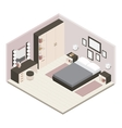 Gray Isometric Bedroom Interior vector image vector image