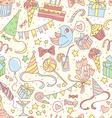happy birthday party seamless colored pattern vector image