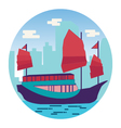 Hong Kong harbour with tourist junk vector image vector image