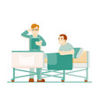 hospitalized patient doctor treatment in clinic vector image