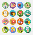 insurance flat icons set vector image