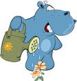 little hippo-gardener Cartoon vector image vector image