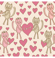 Love cats seamless pattern for Valentines Day vector image