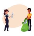 man woman putting garbage into trash bin waste vector image