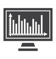 monitor chart solid icon business and graph vector image