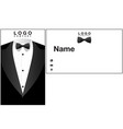 name card tuxedo background image vector image
