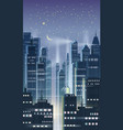 night city city scene skyscrapers towers vector image