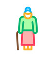 old woman stick icon outline vector image vector image
