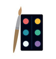 paint palette and brush vector image vector image