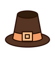 pilgrim hat traditional line fill icon vector image vector image