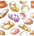 potato seamless pattern market and farming decor vector image vector image