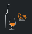 rum bottle with rum glass logo on black background vector image vector image