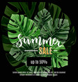 sale banner poster with jungle palm leaves vector image vector image