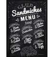 Sandwiches menu chalk vector image vector image