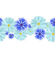 seamless pattern blue daisies and cornflowers vector image vector image